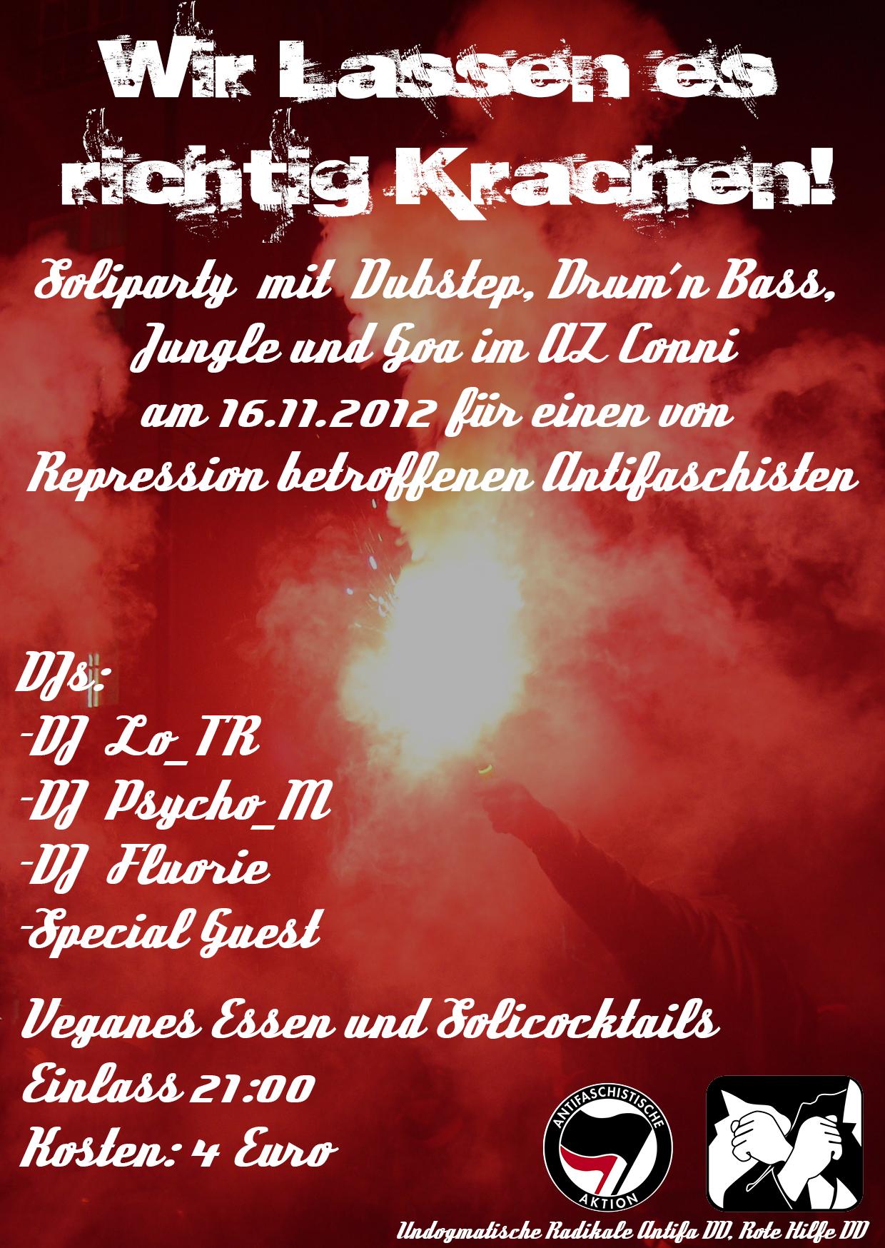Flyer für die Soliparty in Dresden - Wir lassen es richtig krachen!